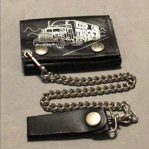 Keep on truckin biker leather wallet.